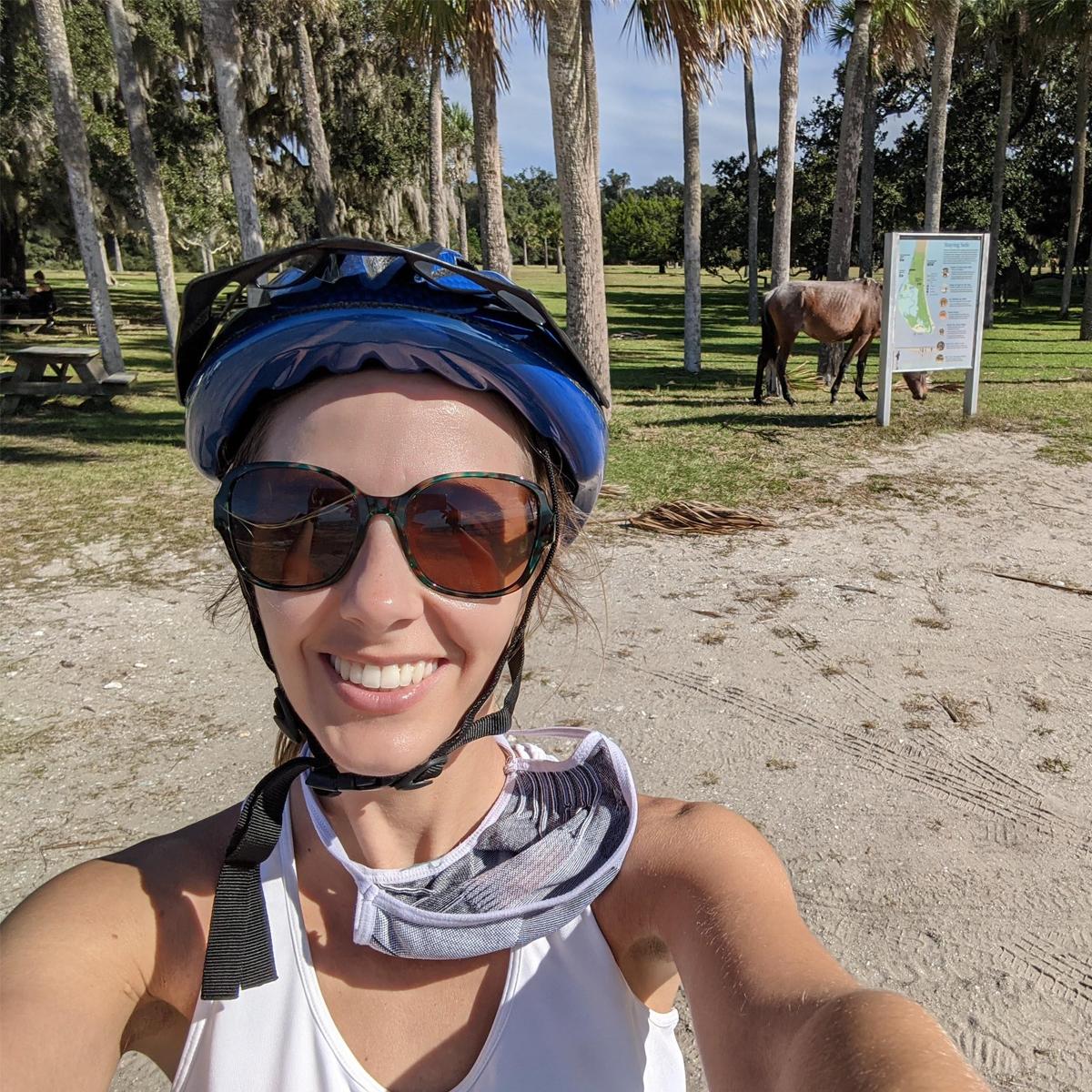 Skimble Trainer Casondra Leblanc on a bike ride in Goose Creek