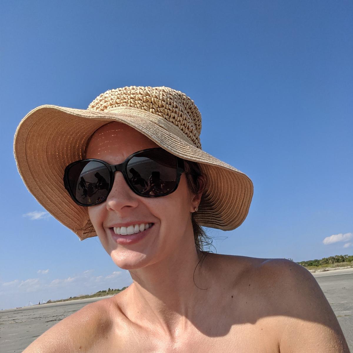 Skimble Trainer Casondra Leblanc enjoying some exercise at the beach