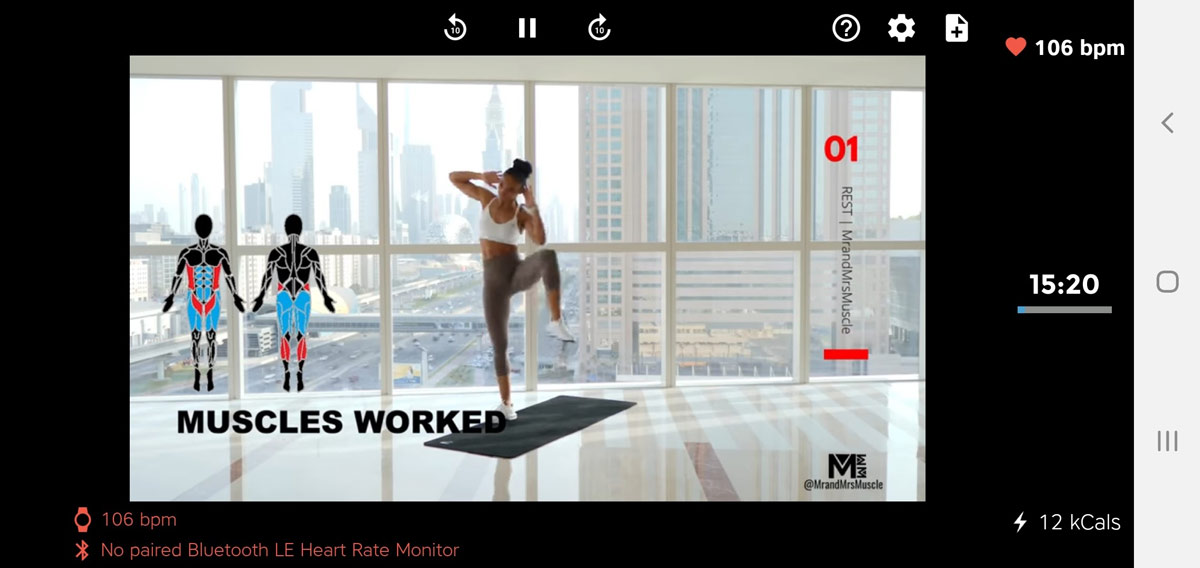 Workout Trainer supports full-length YouTube workout videos