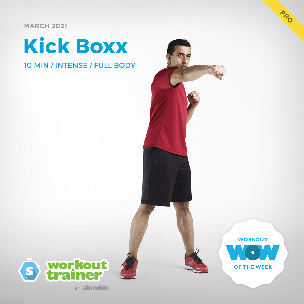 Male Fitness Instructor doing kickboxing cardio workout with Right Jabs