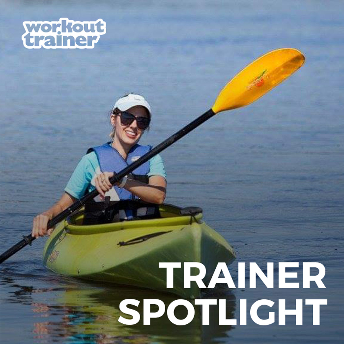 Skimble Trainer Casondra Leblanc paddling in a kayak