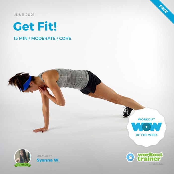 Female Fitness Instructor doing Plank with Shoulder Taps