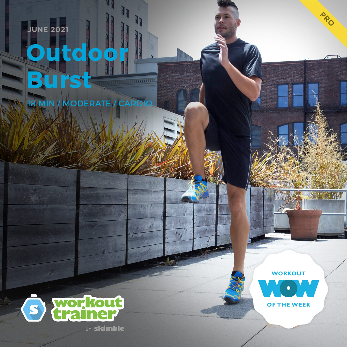 Male Fitness Instructor incorporating a Backwards Job into his outdoor fitness routine