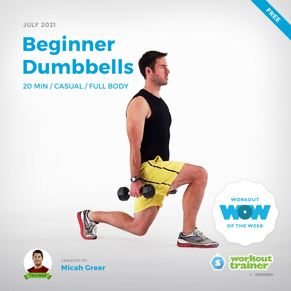 Male Personal Trainer doing beginner Dumbbell Lunges with light weights
