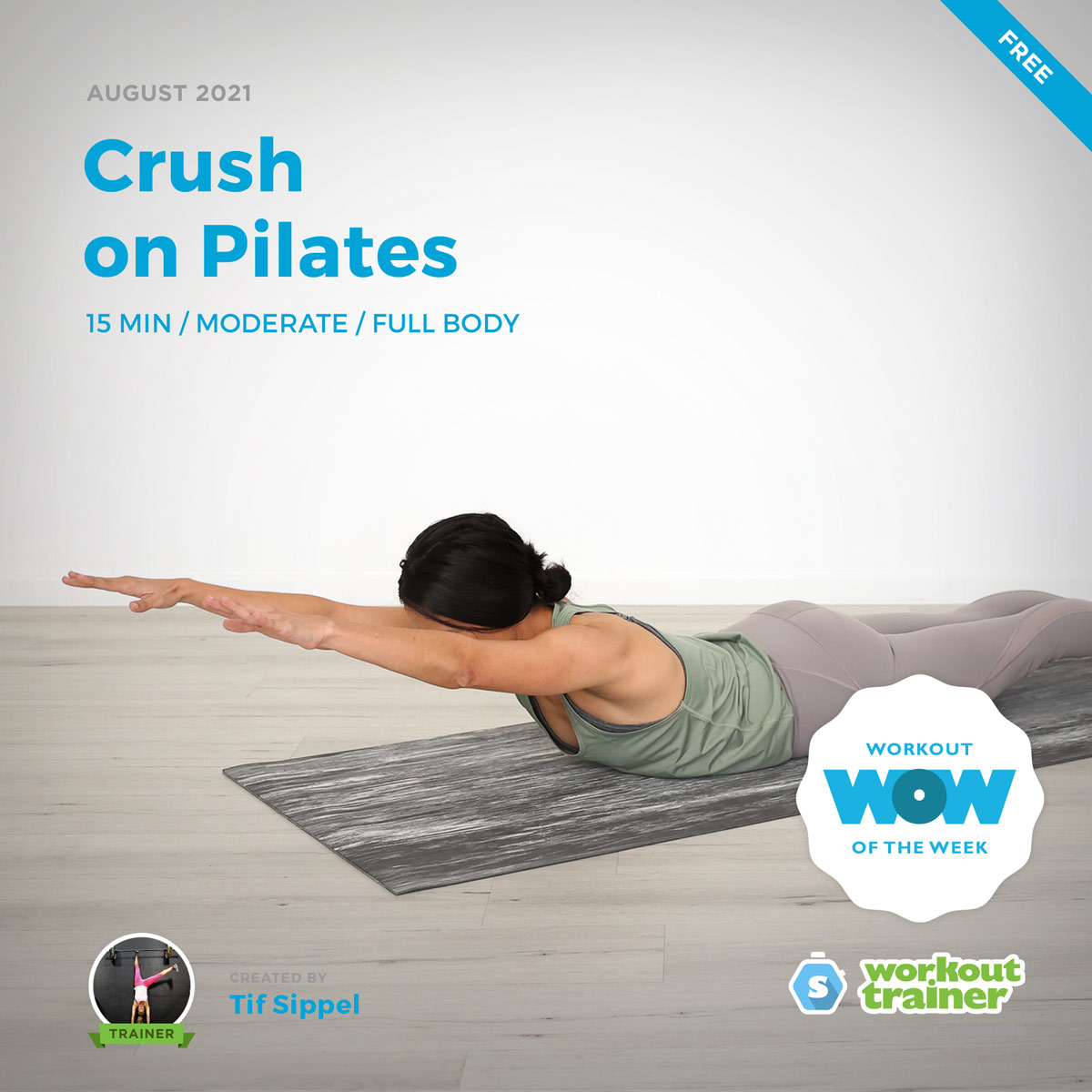 Female Pilates Instructor showing us how to do Prone Rocker on a yoga mat