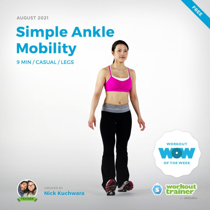 Female Fitness Instructor doing Heel walks to loosen tight calves