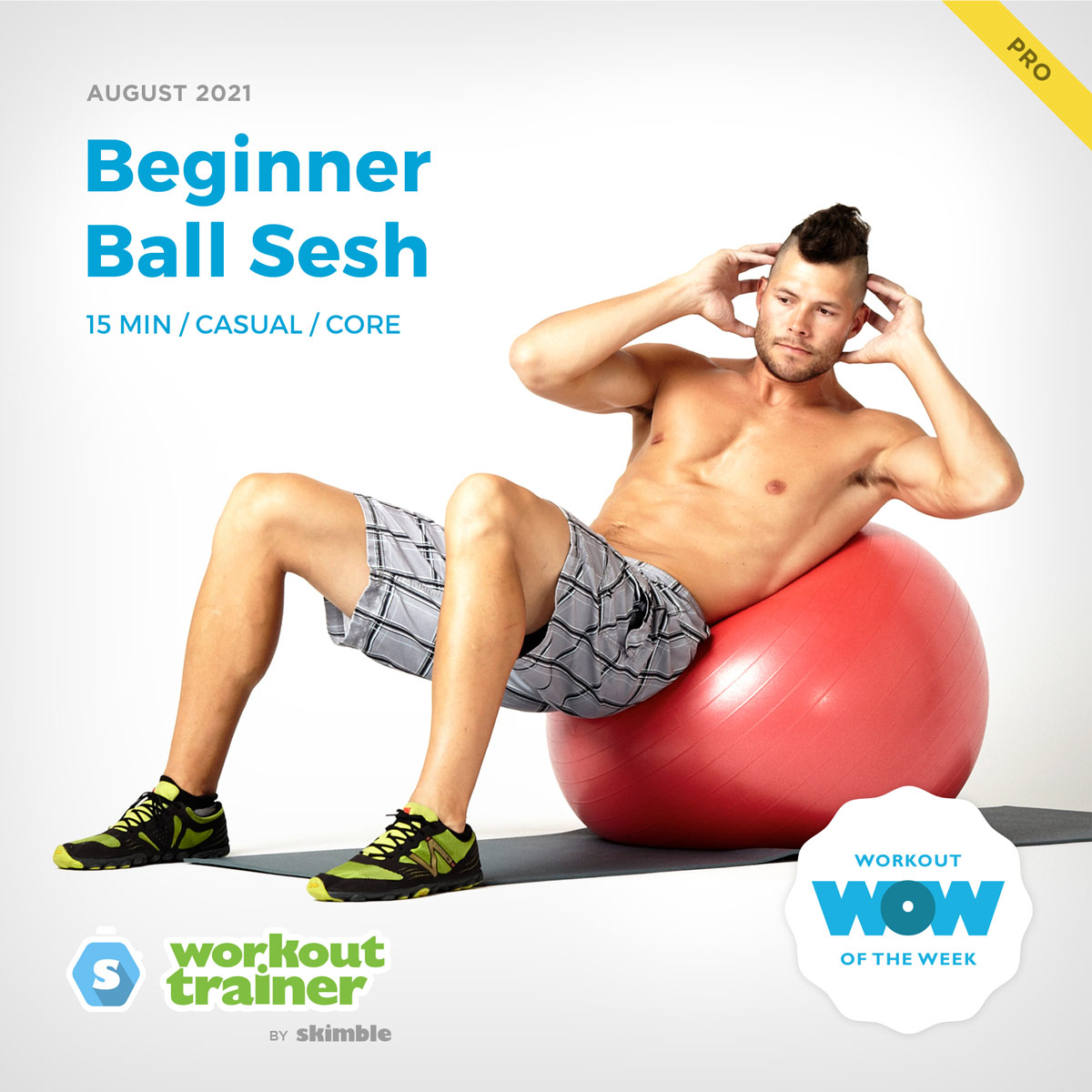 Male Personal Trainer doing Oblique Ball Crunches on a Stability Ball