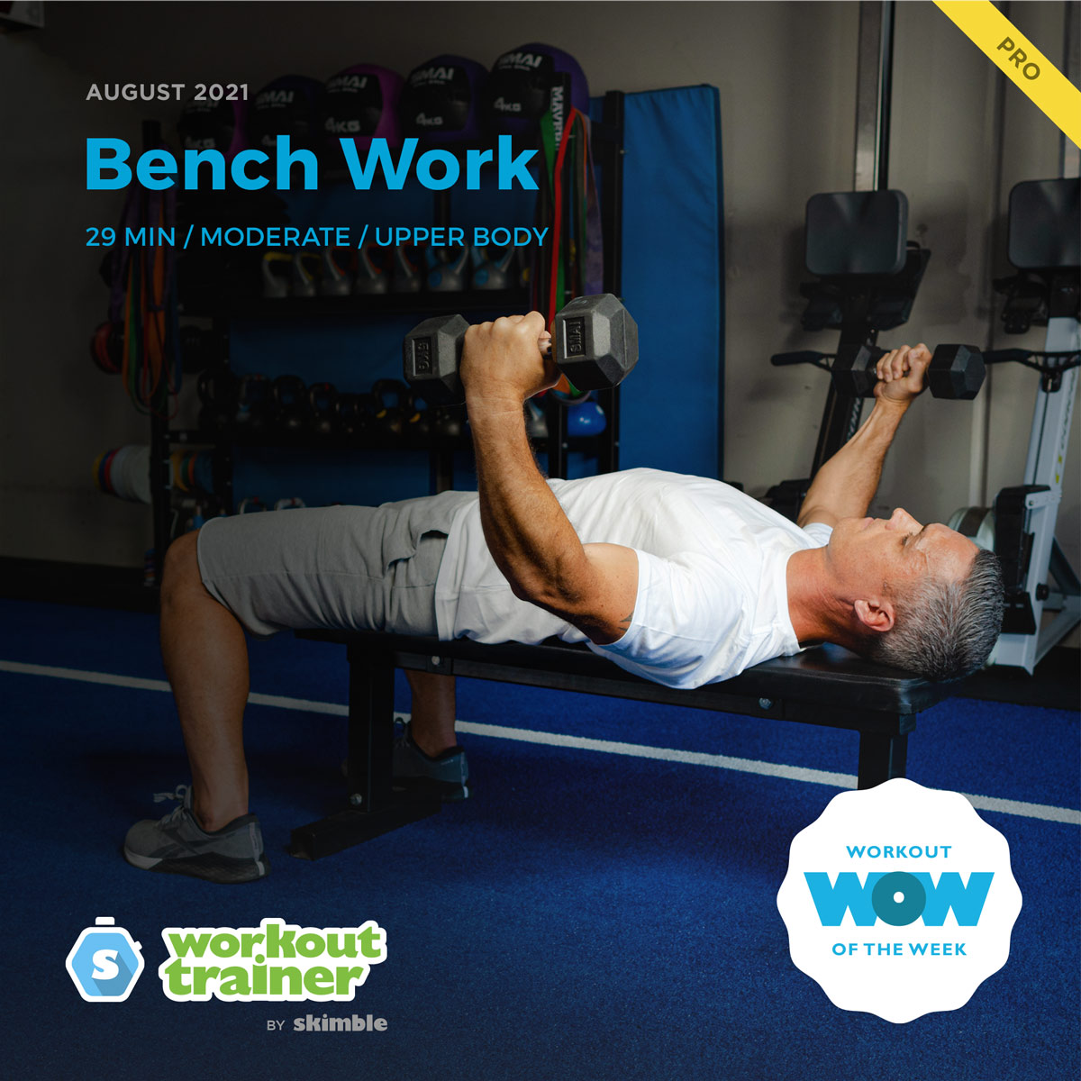 Male CrossFit Trainer demonstrating Dumbbell Fly on Bench