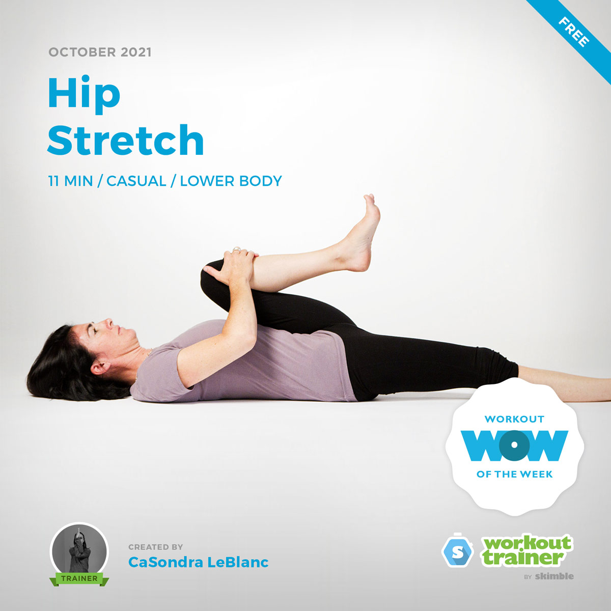 Female Yoga Instructor doing Floor Knee to Chest Stretch after a workout